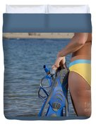 Woman Getting Ready To Go Snorkeling Duvet Cover