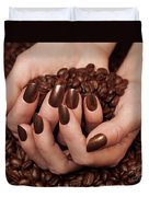 Woman Holding Coffee Beans In Her Hands Duvet Cover