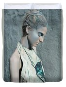 Woman In Ash And Blue Body Paint Duvet Cover