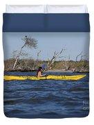 Woman Kayaking Duvet Cover