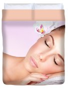 Woman Relaxing On Massage Table Duvet Cover