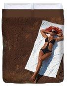 Woman Sunbathing Duvet Cover by Oleksiy Maksymenko