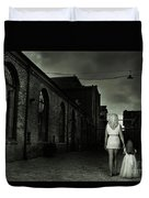 Woman Walking Away With A Child Duvet Cover