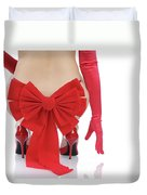 Woman With A Christmas Bow Duvet Cover by Oleksiy Maksymenko
