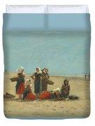 Women On The Beach At Berck Duvet Cover