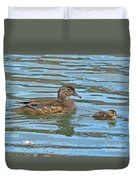 Wood Duck And Baby Duvet Cover