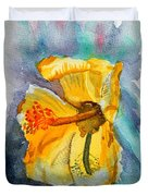Yellow Hibiscus Shadows Duvet Cover