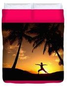 Yoga At Sunset Duvet Cover