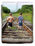 Young Boys On Railway Tracks Duvet Cover