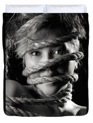 Young Expressive Woman Tied In Ropes Duvet Cover