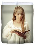 Young Girl Reading A Book Duvet Cover