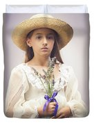 Young Girl With Lavender Duvet Cover