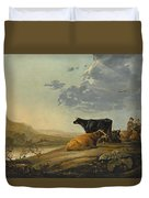 Young Herdsmen With Cows Duvet Cover