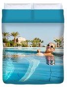 Young Woman Enjoying Warm Water In Pool Duvet Cover