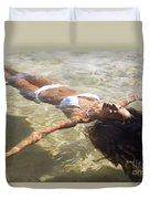 Young Woman In The Water Duvet Cover by Brandon Tabiolo - Printscapes