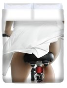 Young Woman On A Bicycle Duvet Cover
