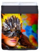 Young Woman With A Colorful Feather Carnival Face Mask On Bright Colorful Background Eye Contact Duvet Cover