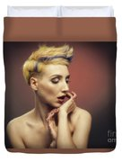 Young Woman With Glittered Fingers And Lips Duvet Cover