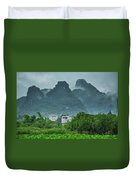Karst Mountains Rural Scenery Duvet Cover
