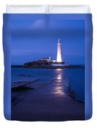 Saint Mary's Lighthouse At Whitley Bay Duvet Cover
