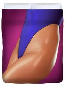 Sexy Young Woman In High Cut Swimsuit Duvet Cover