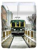 Streetcar Waiting For Passengers In Snowstrom In Uptown Charlott Duvet Cover