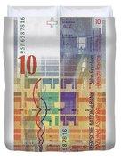 10 Swiss Franc Bill Duvet Cover