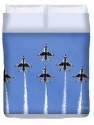 Us Air Force Thunderbirds Flying Preforming Precision Aerial Maneuvers Duvet Cover