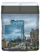 Atlanta Downtown Skyline Scenes In January On Cloudy Day Duvet Cover