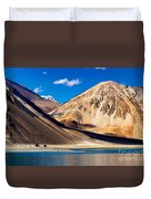 Mountains Pangong Tso Lake Leh Ladakh Jammu And Kashmir India Duvet Cover