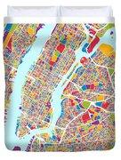 New York City Street Map Duvet Cover