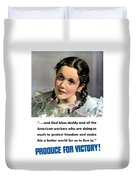 Produce For Victory Duvet Cover by War Is Hell Store