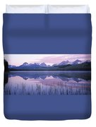 Reflection Of Mountains In A Lake Duvet Cover
