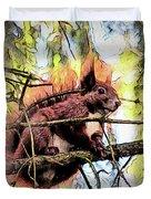11451 Red Squirrel Sketch Duvet Cover