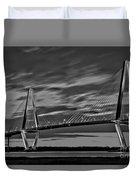 Ravenel Bridge Black And White Sunset Duvet Cover