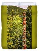 Totems Art And Carvings At Saxman Village In Ketchikan Alaska Duvet Cover