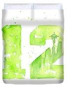 12th Man Seahawks Art Go Hawks Duvet Cover