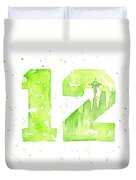 12th Man Seahawks Art Go Hawks Duvet Cover