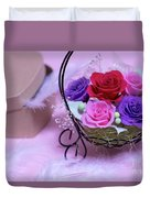 A Gift Of Preservrd Flower And Clay Flower Arrangement, Colorful Duvet Cover