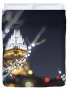Christmas Lights Holiday Decorations Around Charlotte North Caro Duvet Cover