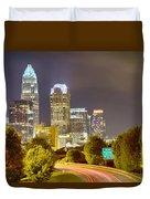 Downtown Of Charlotte  North Carolina Skyline Duvet Cover