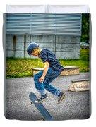 skate park day, Skateboarder Boy In Skate Park, Scooter Boy, In, Skate Park Duvet Cover