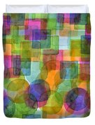 Befriended Squares And Bubbles Duvet Cover