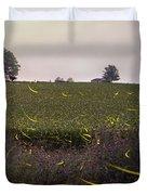 1300 - Fireflies And The House On Hillside Duvet Cover
