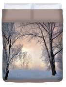 Amazing Landscape With Frozen Snow Covered Trees At Sunrise   Duvet Cover