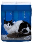 Cat On A Greek Island Duvet Cover