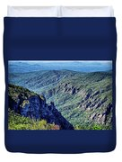Hawksbill Mountain At Linville Gorge With Table Rock Mountain La Duvet Cover