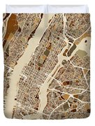New York City Street Map Duvet Cover