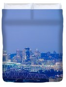 Buildings In A City Lit Up At Dusk Duvet Cover