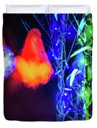 Christmas Season Decorations And Lights At Gardens Duvet Cover
